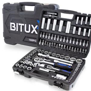 BITUXX Ratschenkasten 108tg Werkzeugkoffer Nusskasten Knarrenkasten Bit
