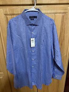 Polo Ralph Lauren Mens Dress Shirt 18 34/35 Blue Button Up