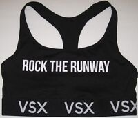 NWT VICTORIA'S SECRET VSX BLACK ROCK THE RUNWAY LOGO PLAYER RACERBACK SPORTS BRA