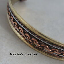 unisex solid copper brass steel cuff therapy bracelet with magnetic ends