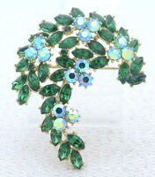 VTG 1961 CROWN TRIFARI Gold Green AB Rhinestone Leaf Flower Pin Brooch