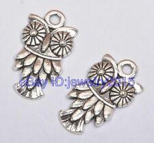 50pcs Tibetan silver charm owl pendant  pendants 10x19mm G3410