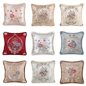 Cushion Cover Home Office Sofa European Style Floral Embroidery Pillow Case 19''