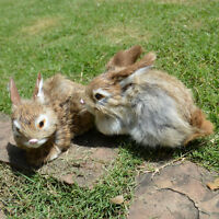 2 Mini Realistic Brown Rabbits Handcrafted Easter Photo Prop Rabbit Fur Bunnies