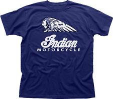 USA Retrò INDIAN MOTORCYCLES VINTAGE Harley chop Biker Navy T-shirt di Cotone 01533