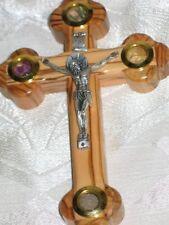 """Cross Crucifix 4 Lens Olive Wood 7 """" La Cruz de las Catorce Estaciones 18 cm"""
