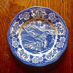"Royal Warwick Lochs Of Scotland Loch Katrine Blue White Small 7"" Plate England"