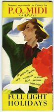 CHEMINS  DE FER P.O. MIDI, GUIDE TOURSTIQUE EN ANGLAIS, VACANCES D'ÉTÉ 1937