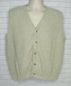 Eddie Bauer Tan Button Front Sweater Vest Cardigan Size Large V Neck Sleeveless