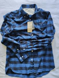 Muji Men's Blue Check Flannel Button Down Collar Shirt Size Medium