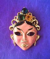 Asian Princess Enamel Face Brooch, Fur, Dress Clip, Excellent Vintage, Figural