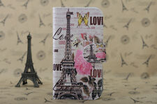 3Colors Flower Paris Eiffel Tower PU leather Cover Case For Mobile Phones