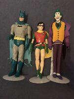"""DC Comics 1988 Batman 15"""" & Robin 12"""" & Joker 15"""" Vinyl Figures Rare"""