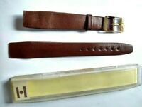 NOS Vintage Hirsch Leather Brown Gold Buckle Watch Band 16 mm FREE SHIPPING