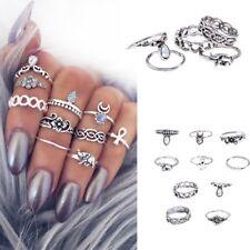 10 x Moda Donne argento placcato oro Anelli di cristallo Midi di barretta Anelli