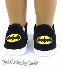 "Black Batman Loafers fit 18"" American Girl Doll - Boy Shoes"
