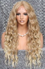 Full lace front wig Long wavy center part Blonde mix NWT Hair piece 27-613 JSNX