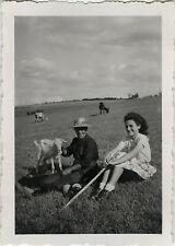 Vintage old photo-snapshot-animal goat sheep lamb berger-goat