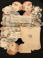 #3221🌟Vintage 1940s Baby's FIRST BIRTHDAY Greeting Card 3-Panel Baby W/ Teddy B