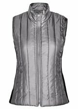 Silver metal Grey quilted light weight jacket VEST + pockets size 22 black sides