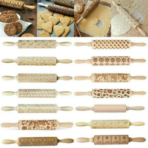 Wooden Rolling Pin Embossing Baking Cookie Cake Dough Xmas Roller Christmas Tool