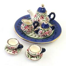 Miniature Tiny Blue Flower Tea Set, Collectable Dolls House Tea Pot Cups Saucers