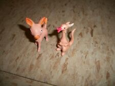 Vintage Lot of 2 pink plastic figures No.958 No.914 Kangaroo and Donkey 1960s