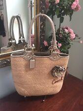 Coach Bag Natural Straw Leather Flower Woven Tote Shoulder Bag 13373 B2