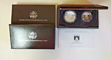1989 US Congressional Two Coin Proof Set Silver $1 Dollar - Clad Half w/ Box-COA