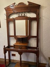 More details for antique hall coat stand with mirror, drawer and shelves