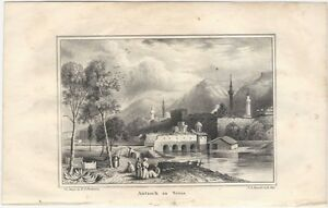 """1842 Lithograph of """"Antioch in Syria"""" with River, Buildings & Figures"""