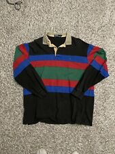 Vintage Polo Ralph Lauren Rugby Shirt Size XL Black Striped Long Sleeve