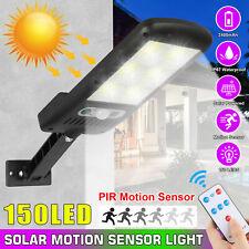 150 LED Solar Street Wall Light PIR Motion Sensor Lamp Outdoor Garden Waterproof