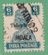 India Patiala State Telephone Stamp Barefoot #29 used 6as George VI cv $20