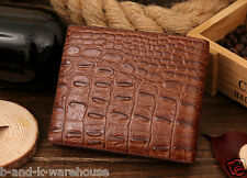Luxury Leather Wallet Bifold Crocodile Designer Card Notes ID Holder Purse