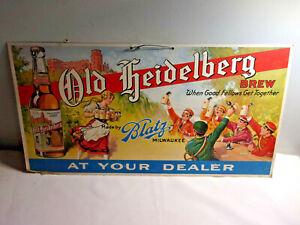 Vintage 1940's Old Heidelberg Beer Blatz Brewery Milwaukee Cardboard Sign