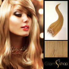 """20"""" STRAIGHT LOOP MICRO RING/BEAD 100% Human Remy Hair Extensions 50g #24 BLONDE"""
