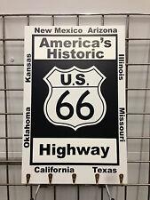 Route 66 Key Rack Sign Plaque Wood