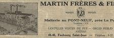 43 LE PUY PONT-NEUF MALTERIE MARTIN FRERES LENTILLES VERTES PUBLICITE 1932