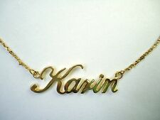 PERSONALIED 14K GOLD PLATED NAME PLATE NECKLACE ANY NAME UP TO 9 LETTERS