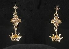 Rhinestone Red Hat Society Crown Crystal Dangle Earrings