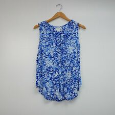 Liz Claiborne Women's Sleeveless Floral Blue  Button Down Blouse Sz M 100% Rayon