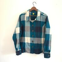 Cabela's Womens 2XL Blue White Plaid Logger Flannel Shirt Jacket Button Front