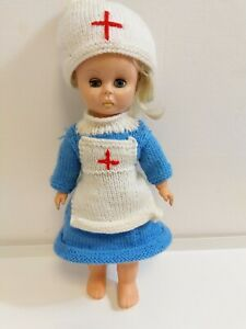 """Vintage 1970s 15"""" Plastic Doll Closing Eyes Nurse Matron Outfit and accessories"""