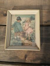 Vintage Jack And Jill Nursery Rhyme Framed Lithograph Print 1940s ? 4 x 5 in