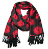 Red Poppy Poppies Black Blue Pattern Print Scarf Large Pashmina Wrap | LilyRosa