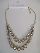 Ann Taylor LOFT Pearlized Crystal Two Layer Necklace NWT $39.50
