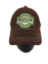 Jeep Logo Grill  Khaki & Brown Cap Hat Strap Back Adult Size