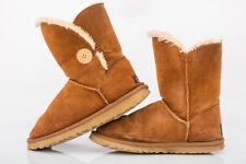 UGG Australia Bailey Button Waterproof Brown Suede Sheepskin Boots UK 5.5 EUR 38