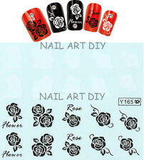 20 NAIL STICKERS TATTOO ADESIVO ROSE BIANCHE E NERE BUY 3 GET 1 FREE!!!